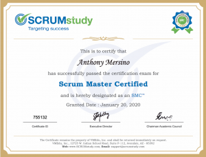 SMC Certificate from SCRUMstudy