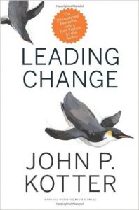 Cover of Leading Change book by John P Kotter includes guiding coalition for transformation